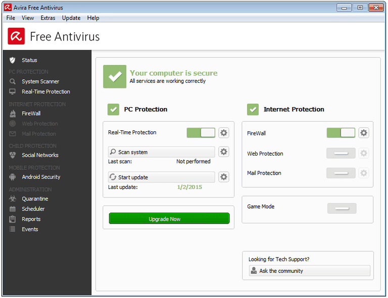Screenshot of Avira Free Antivirus 2015 in Windows 7