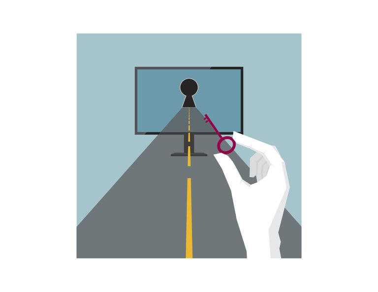Illustration of road leading to a computer a hand holding a key
