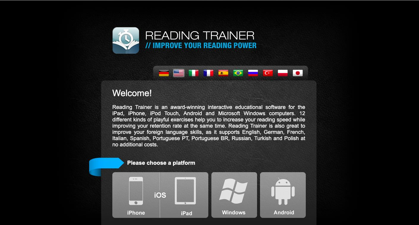 Reading Trainer speed reading app for iOS and Android