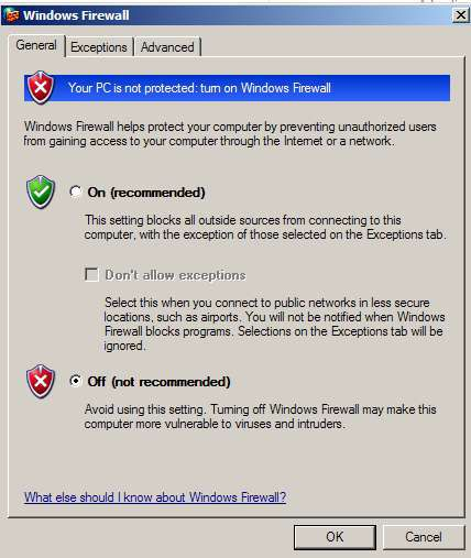 Windows Firewall options