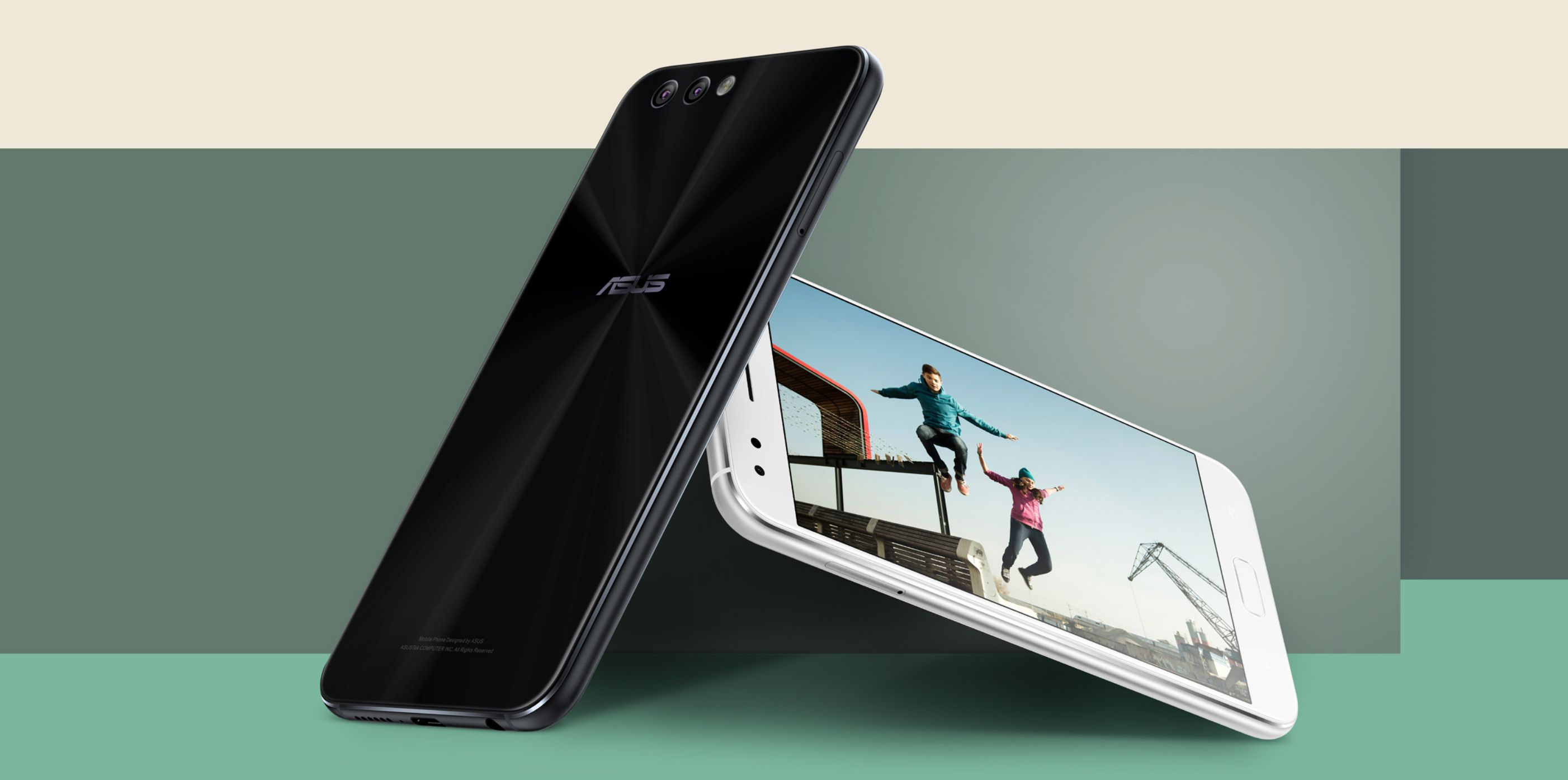 Asus ZenFone 4 in black, front and back view