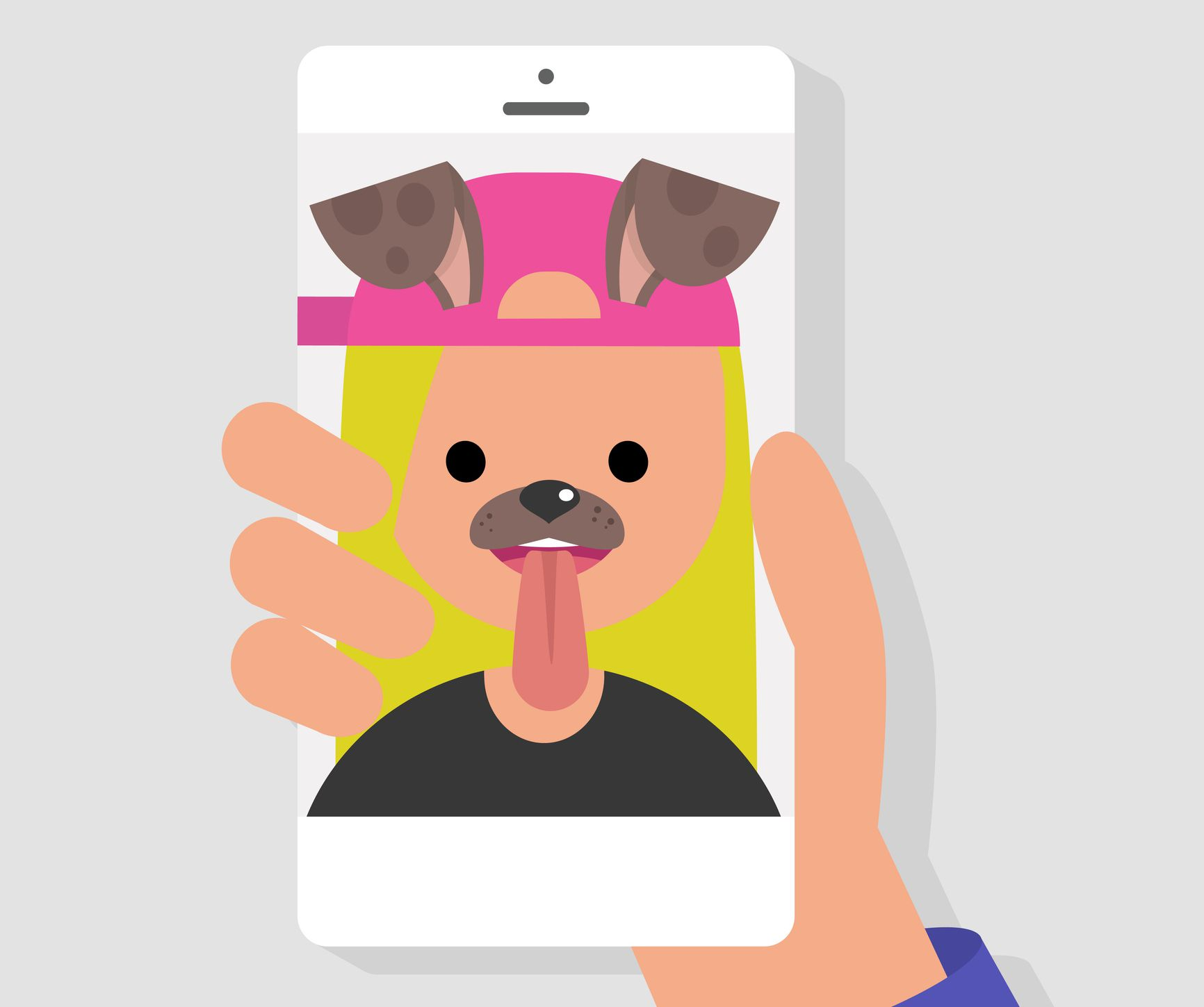 A dog filter on a woman's selfie.