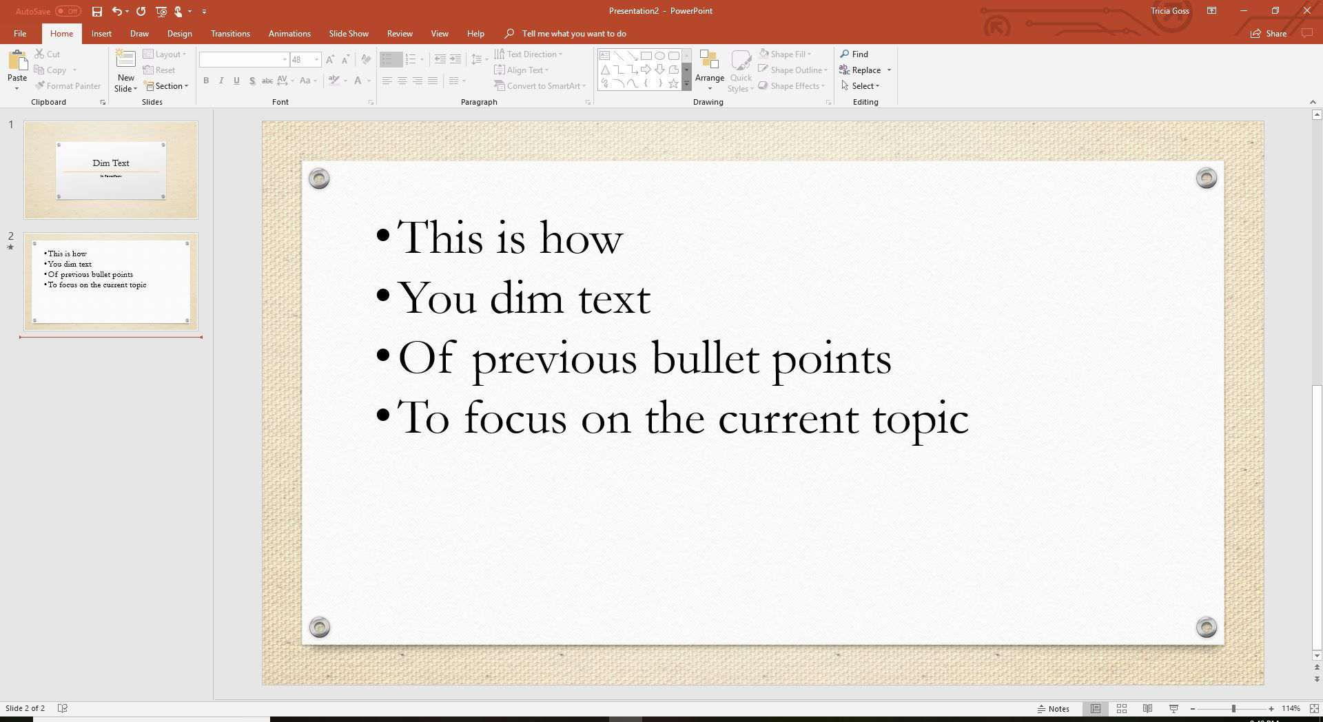 Dim Text in PowerPoint Presentations
