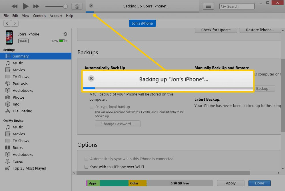 Backing up progress bar in iTunes for Windows