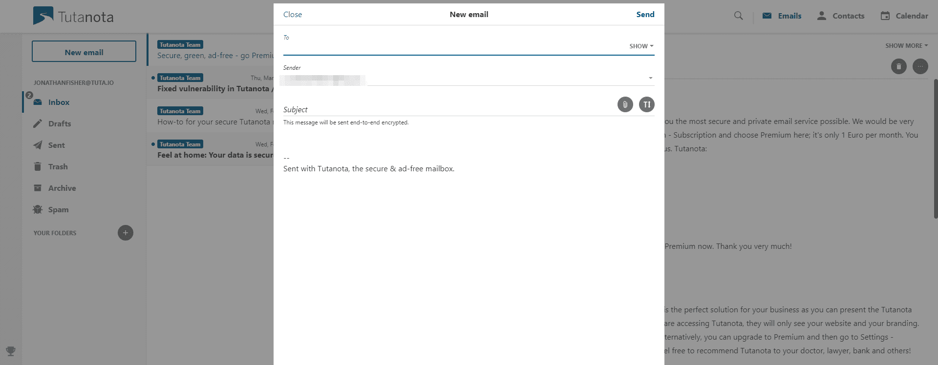 A Tutanota email inbox