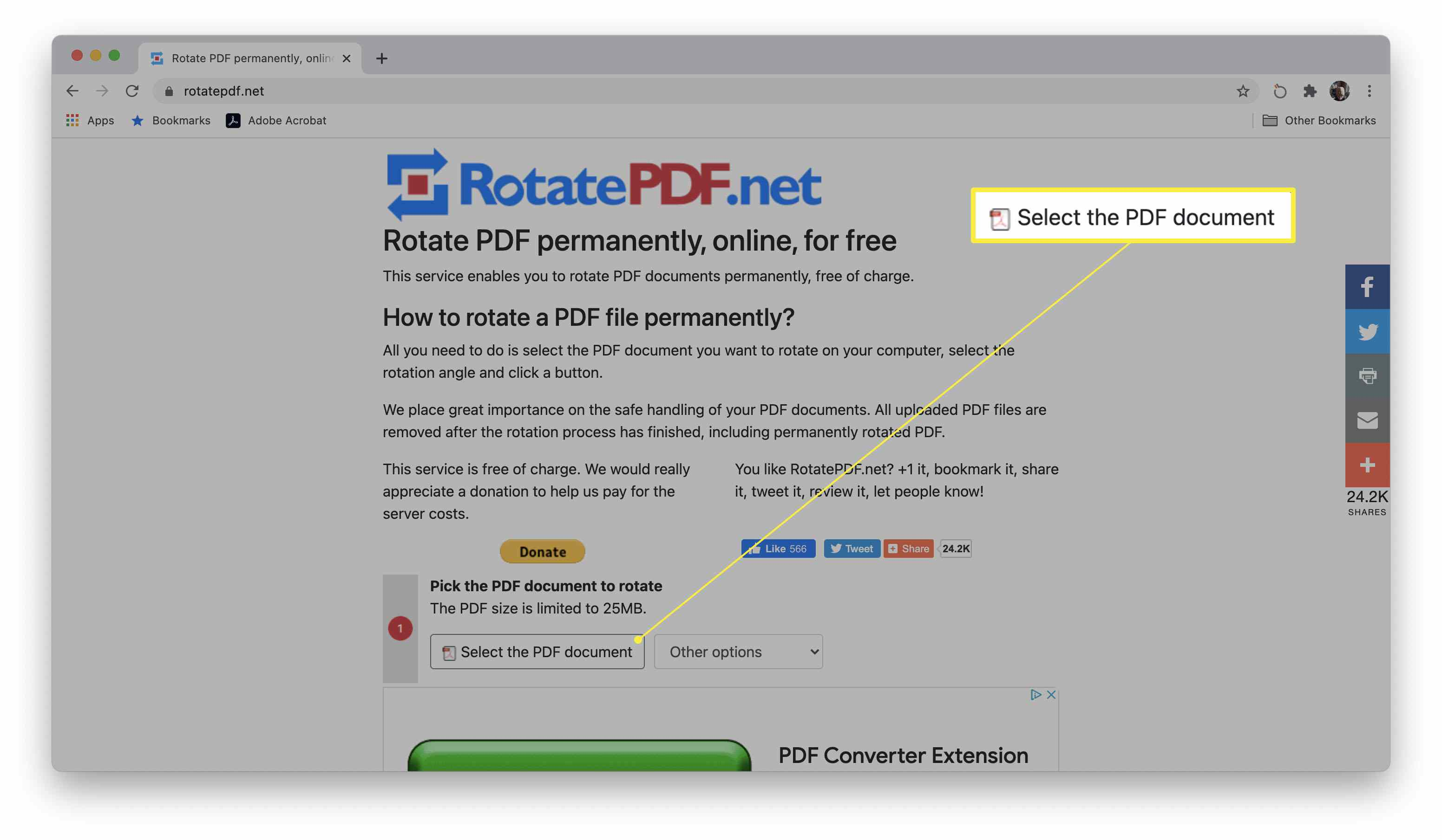 Select the PDF document highlighted on RotatePDF site