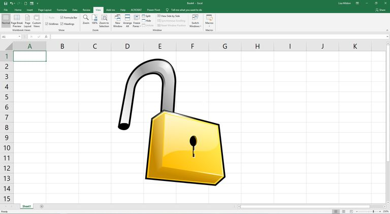 A drawng of a lock on a basic Excel worksheet.
