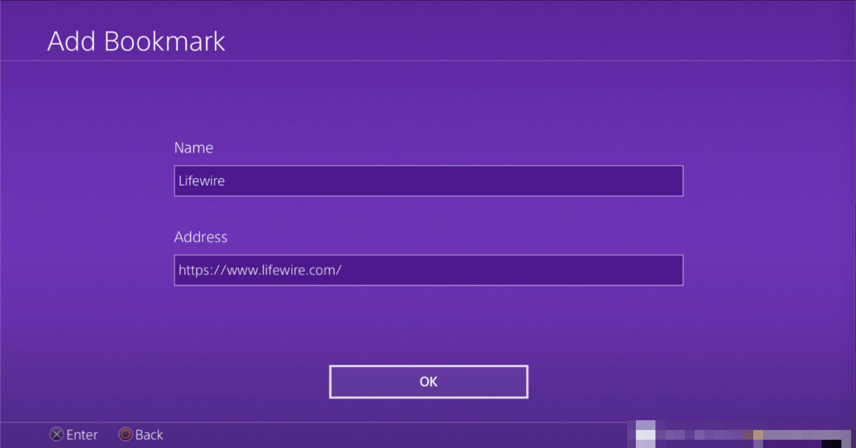 Add Bookmark screen on PS4 web browser