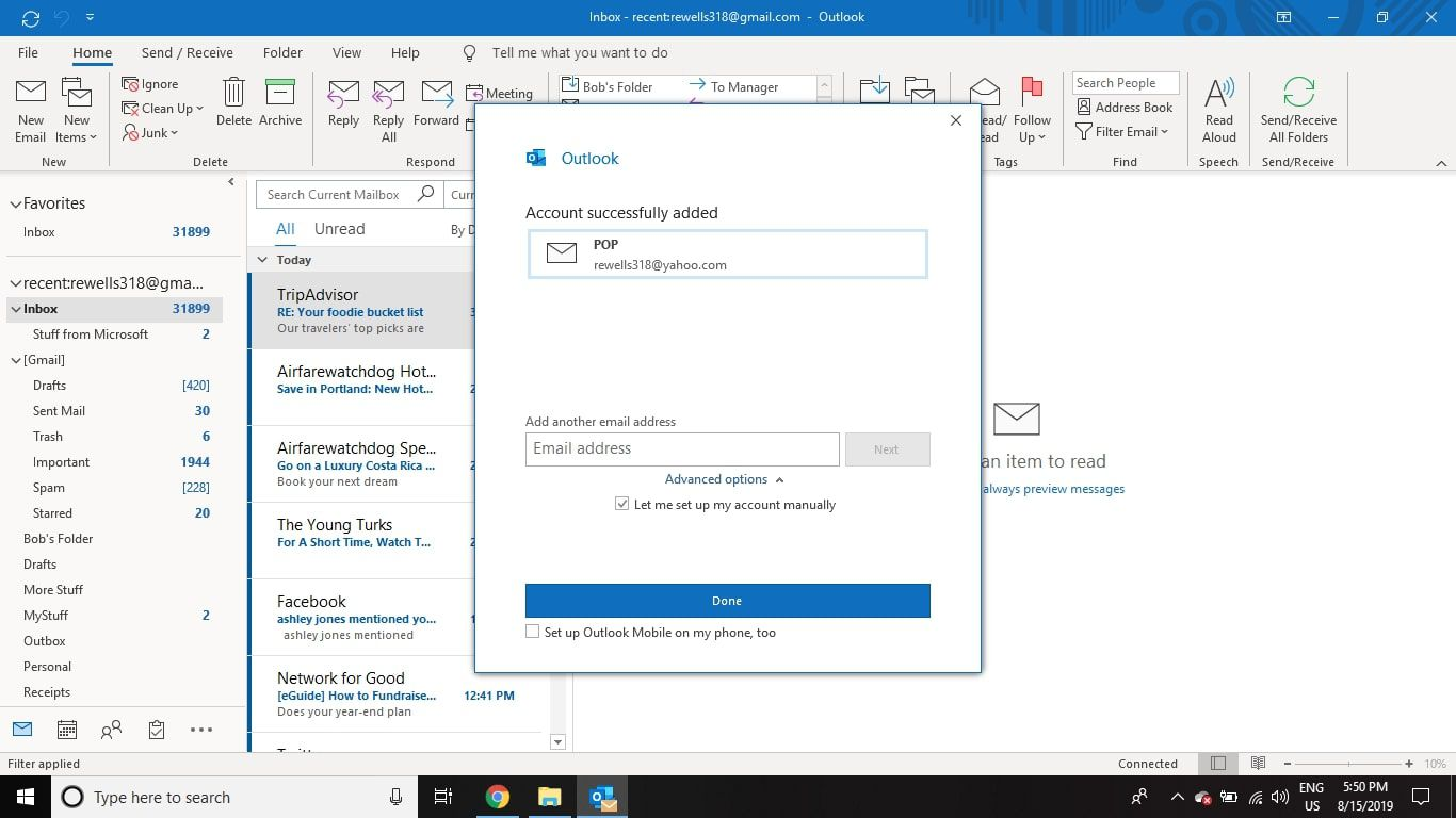 Select Done to finish connecting your Yahoo Mail to Outlook via POP.