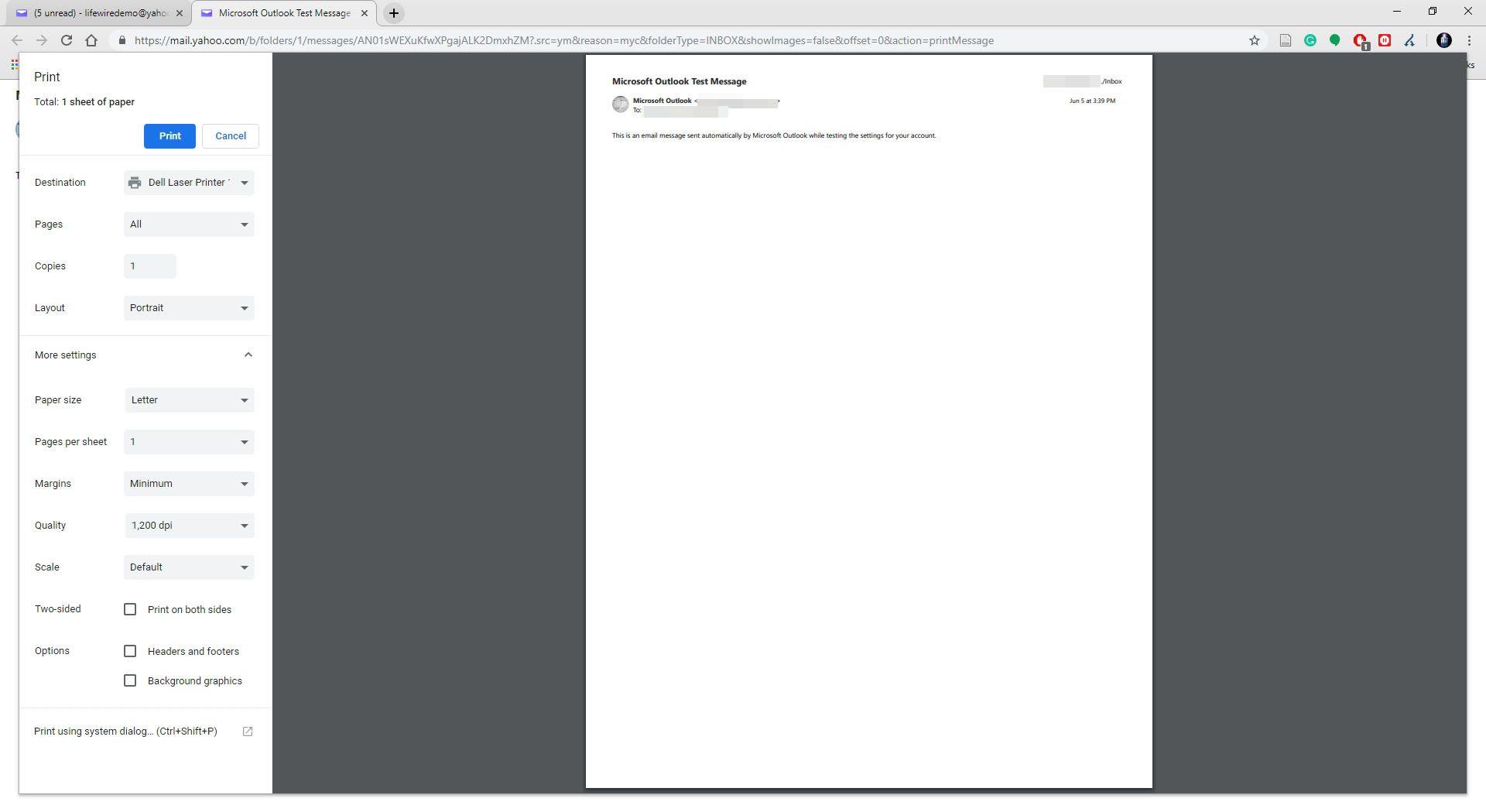 Printing option from Google Chrome.