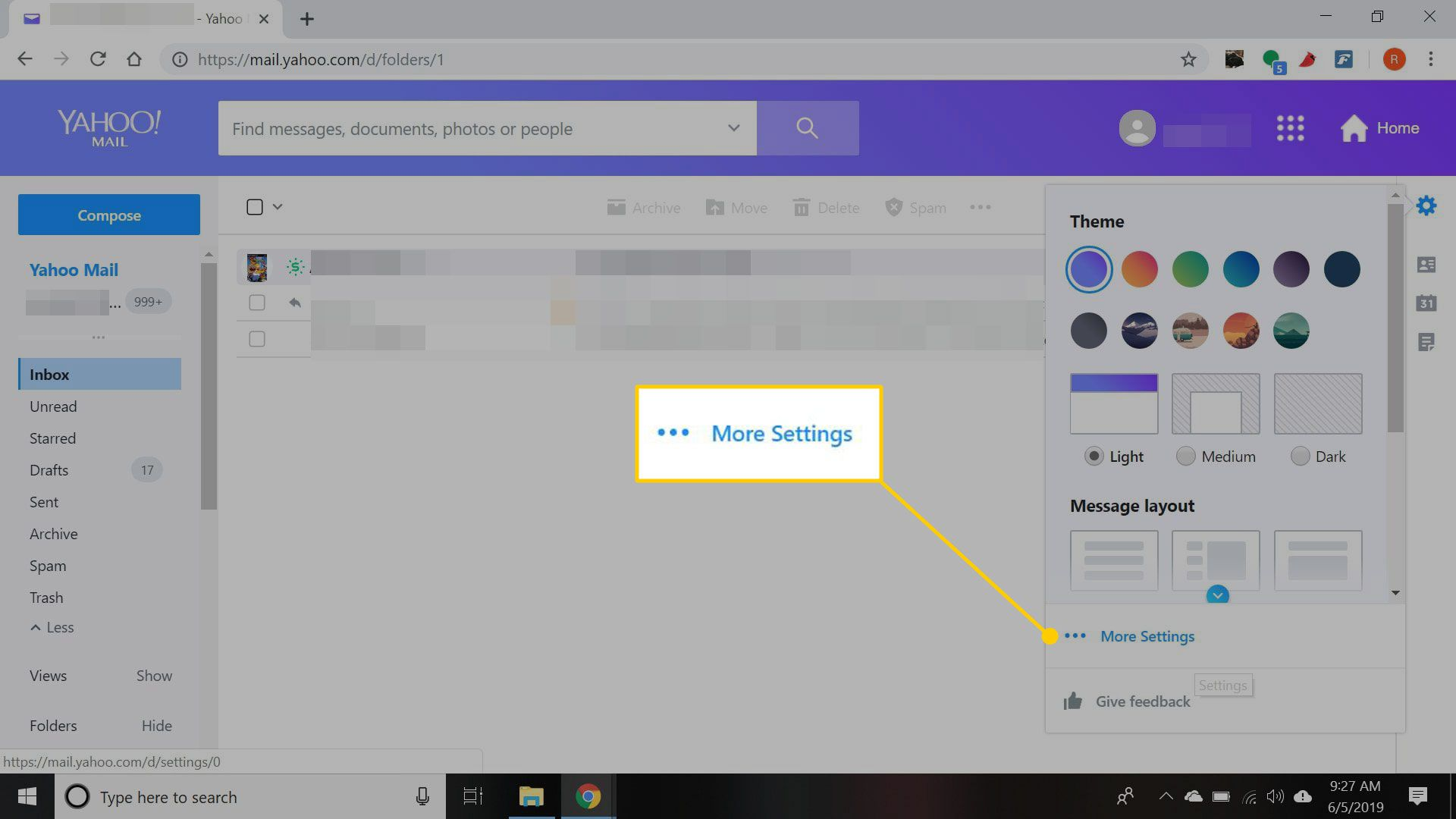 Yahoo Mail gear menu with the More Settings button highlighted