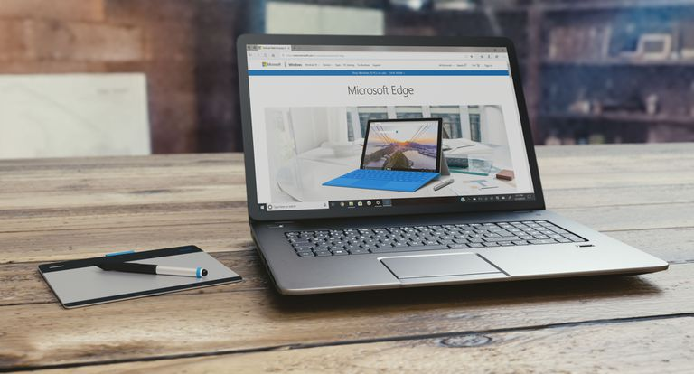 Microsoft Edge on a PC sitting on a table