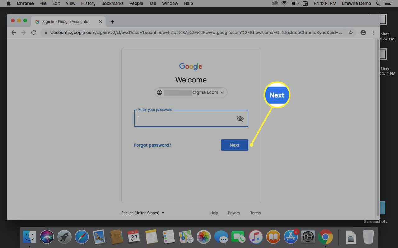 Prompt to enter password for Google account.