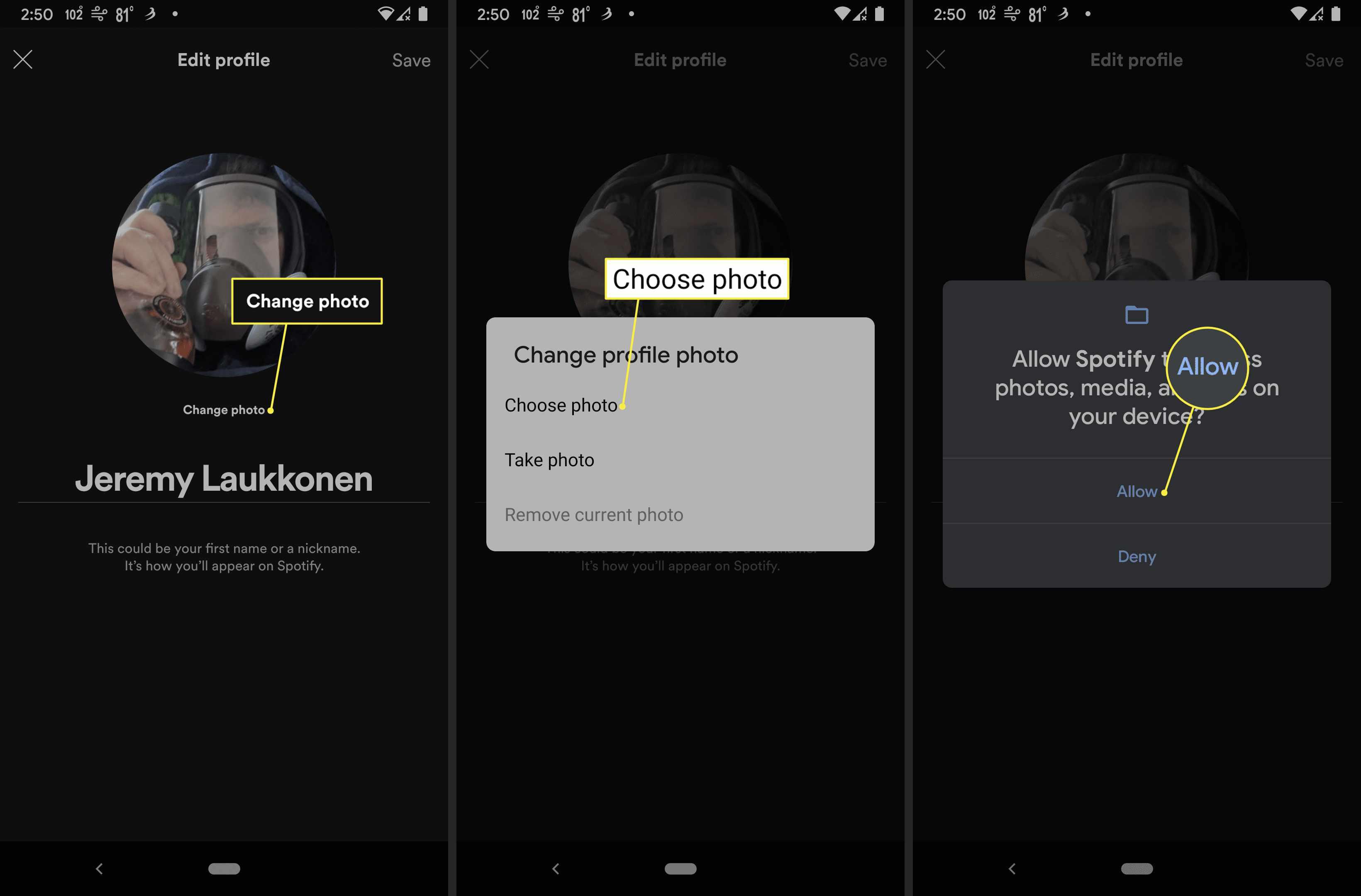 Change photo, Choose photo, Allow in Spotify app