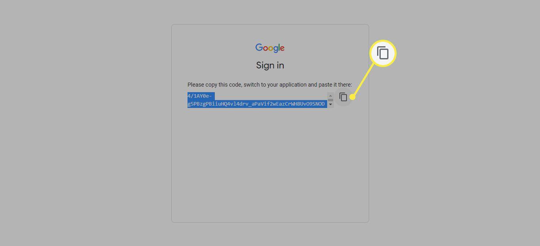 Copy icon next to the token URL on Google app verification