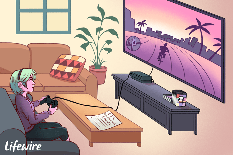 Gamer playing GTA San Andreas on a big screen TV