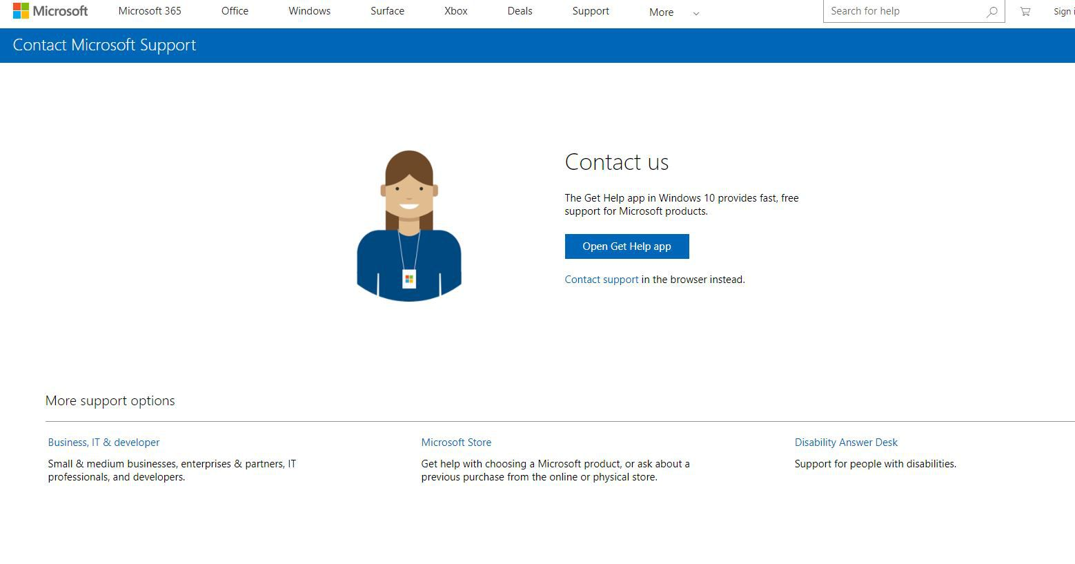 Open Get Help app button on Contact Microsoft Support page