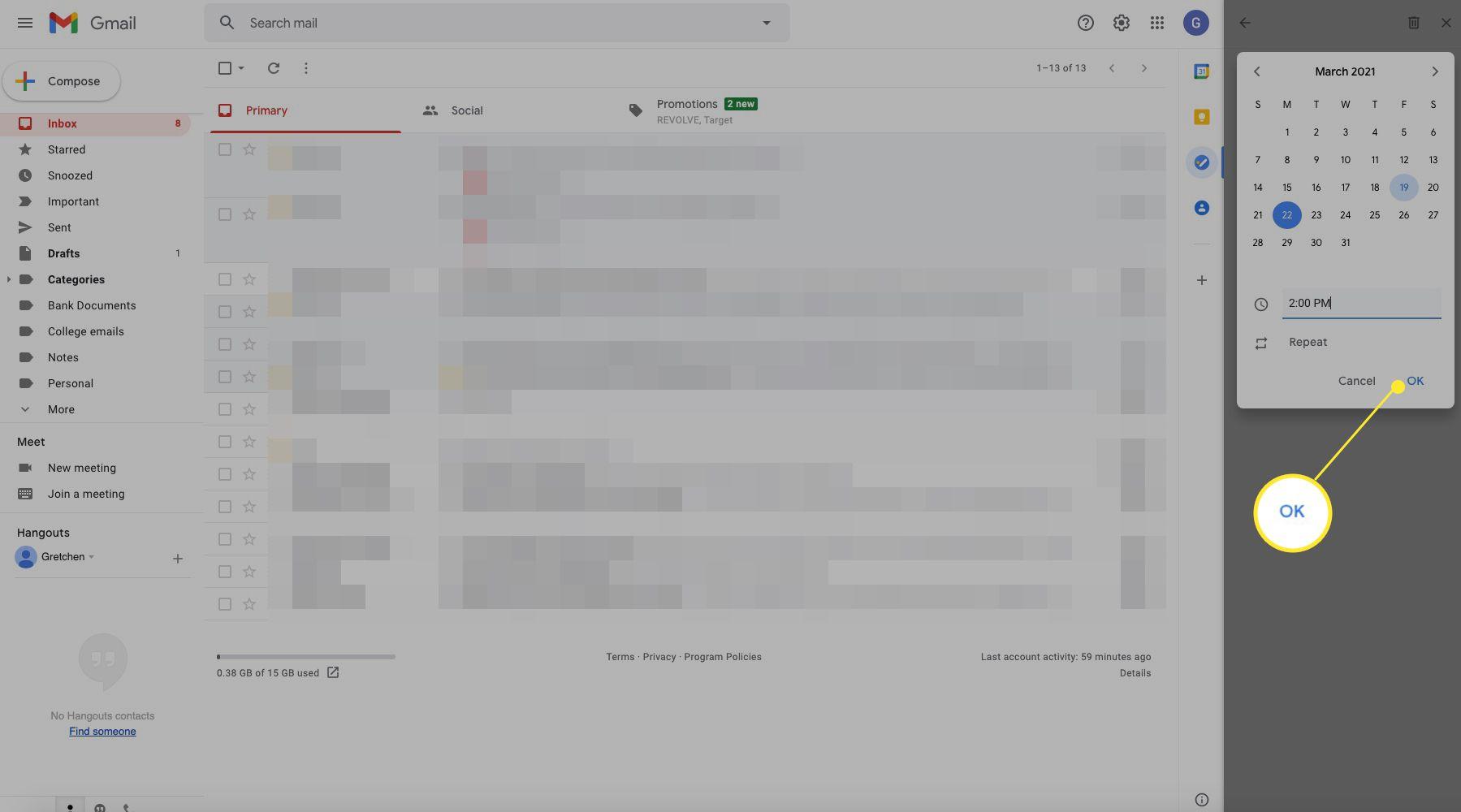 Google task window with OK highlighted