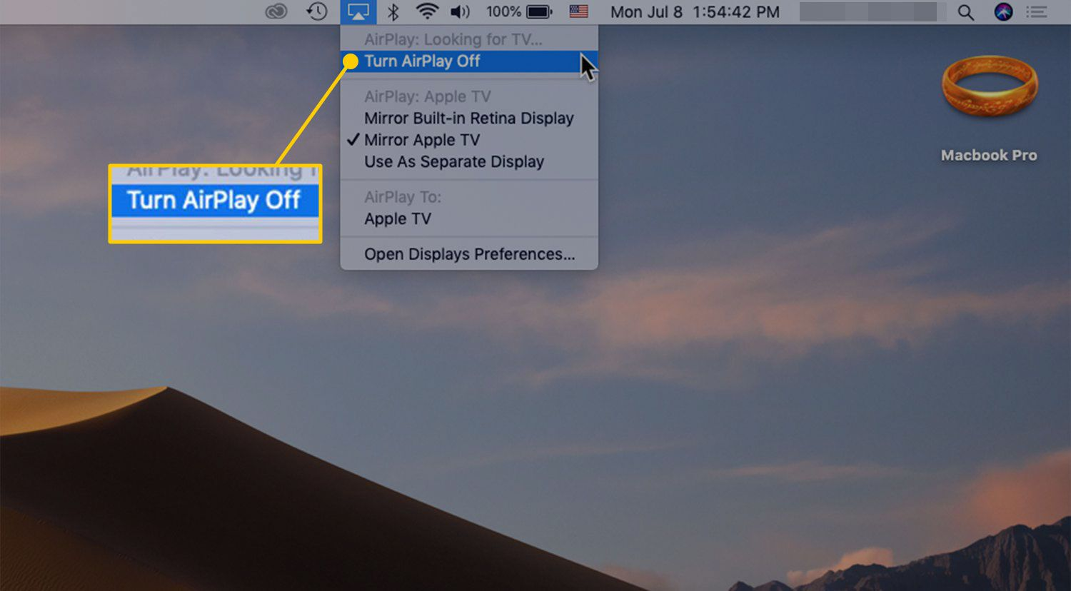Turn AirPlay Off command in macOS