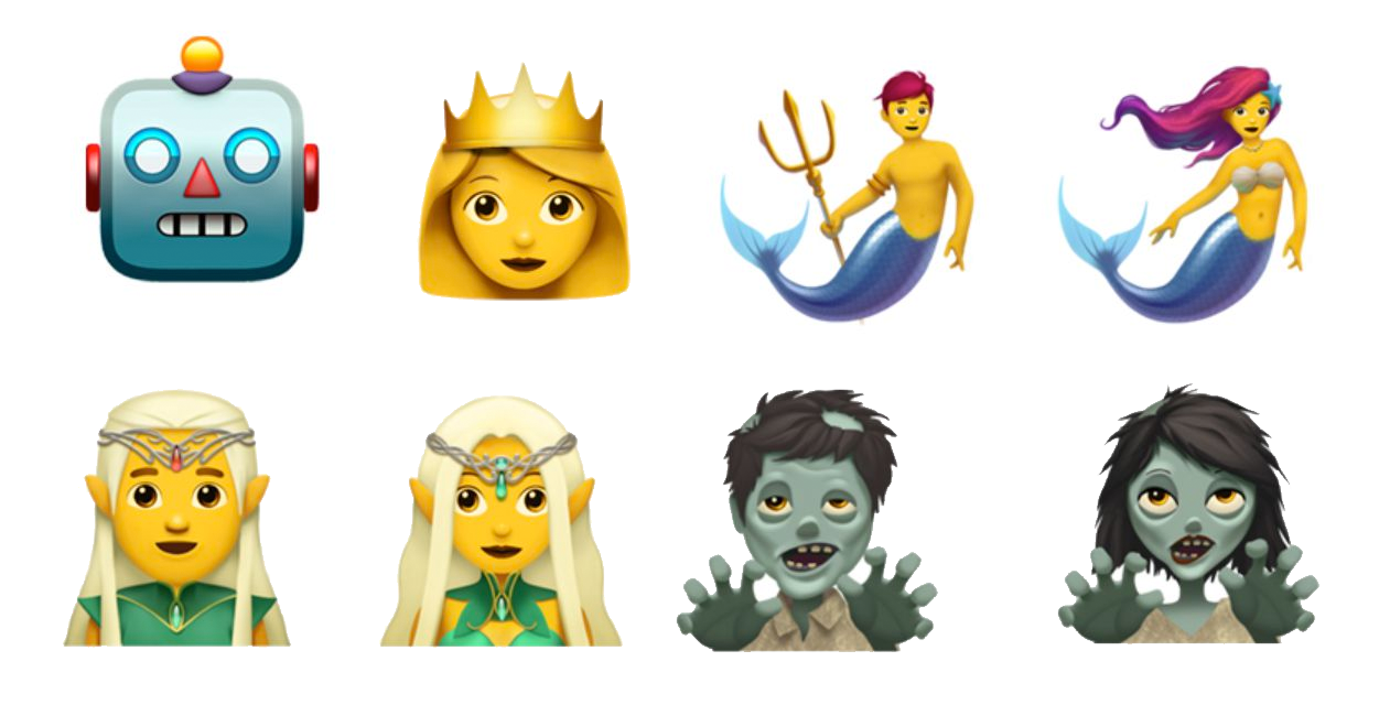 Robot, princess, mer-people, elves, zombie icons