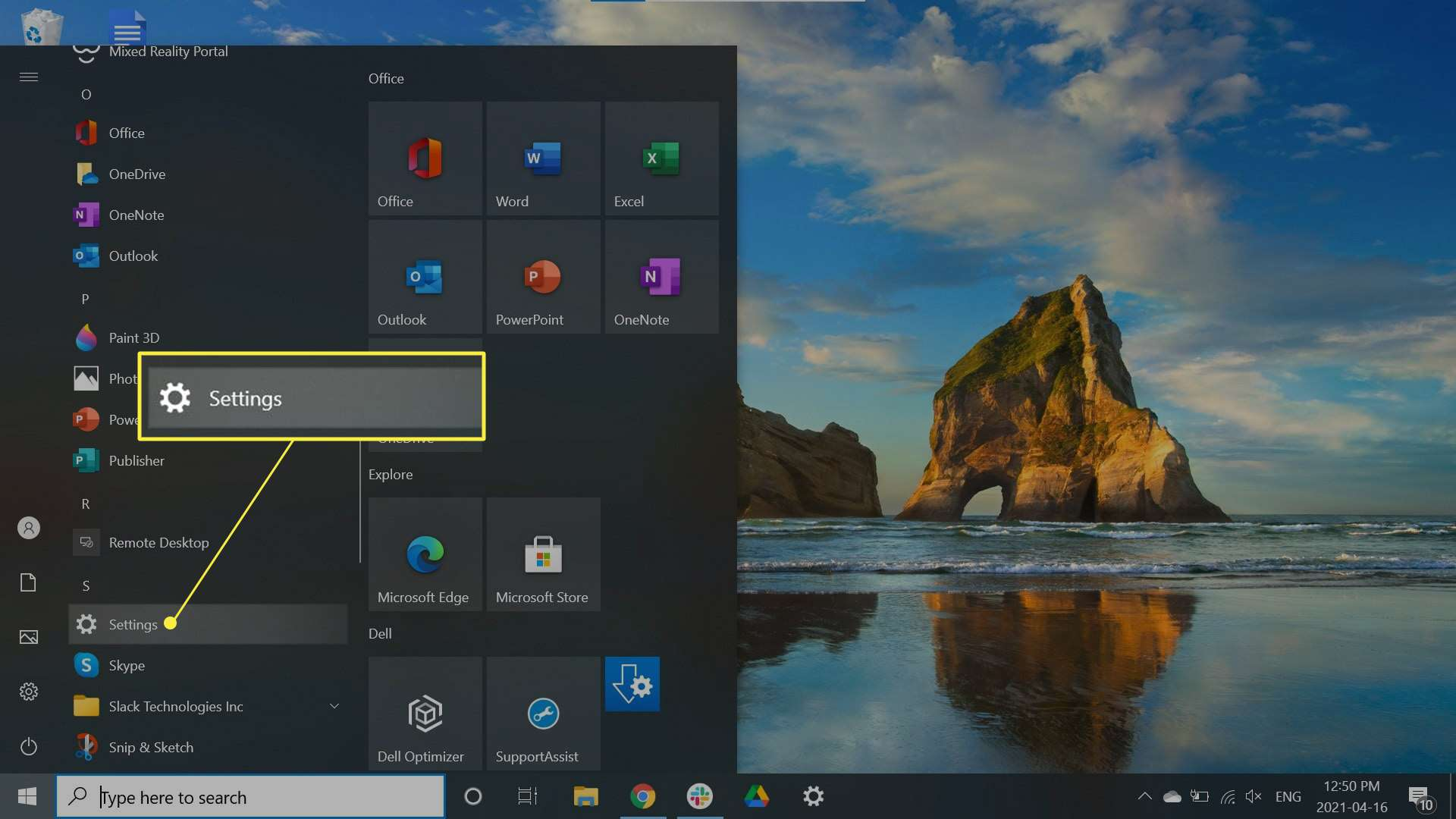 Settings highlighted in the Windows taskbar
