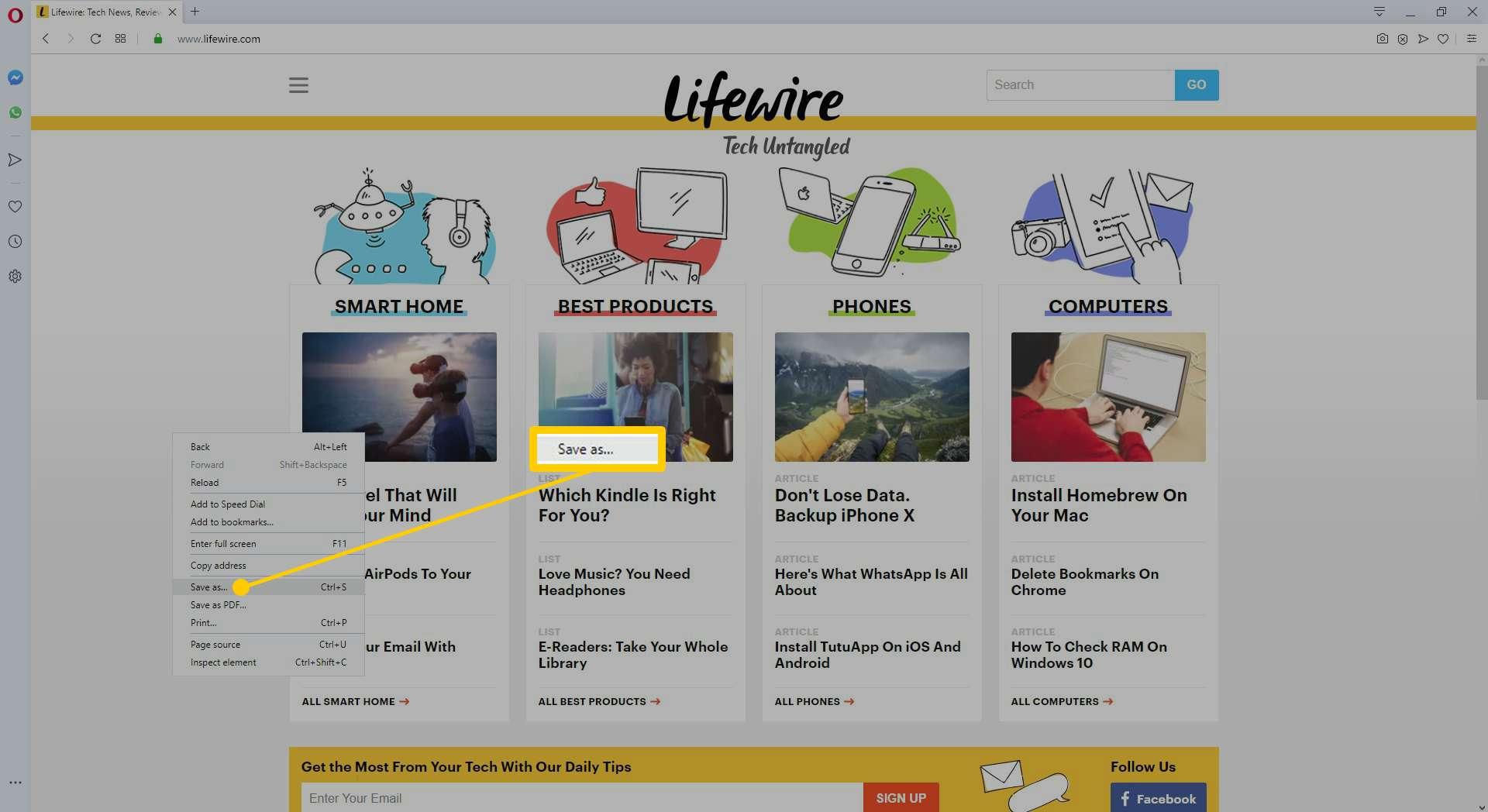 The right-click context menu in Opera