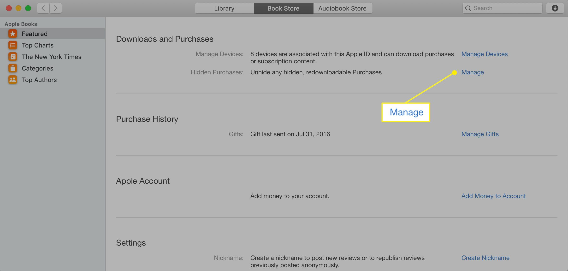 Apple account with Manage highlighted next to Hidden Purchases