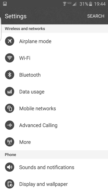 Settings - Samsung Galaxy 6 Edge
