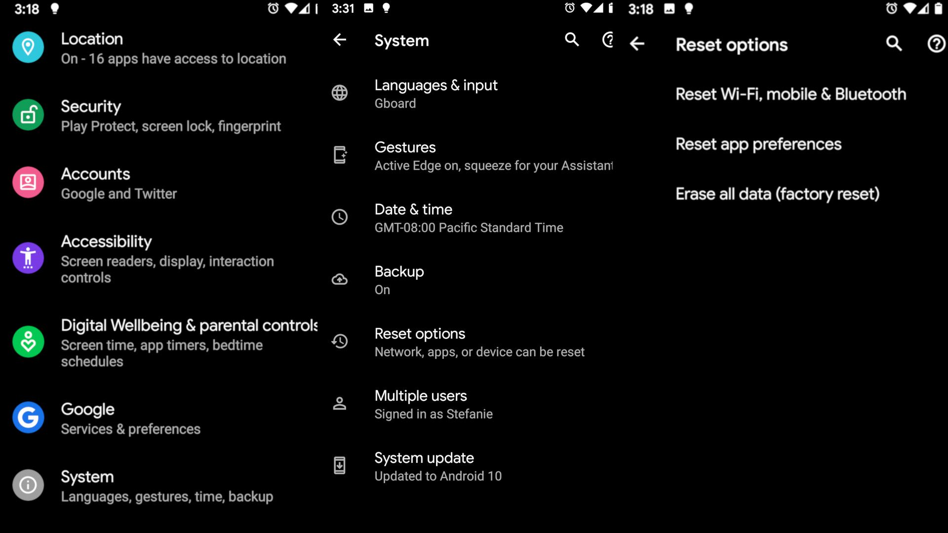 Android Settings app, System and Reset Options screens