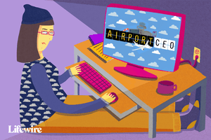 Illustration of someone playing an airport simulation.