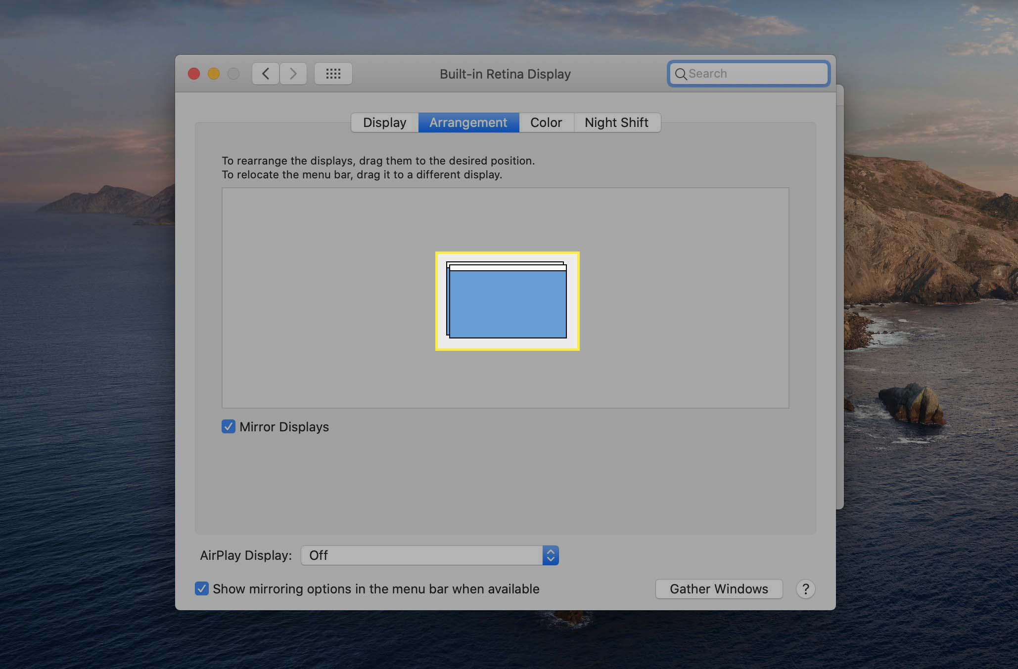 The Arrangements tab of Displays System Preferences highlighting that connected displays are mirrored.