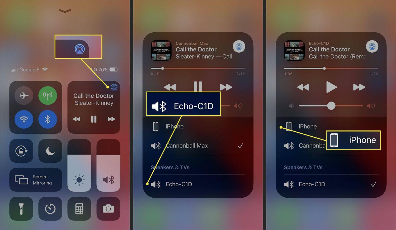 Controlling output to the Echo Dot via the iOS Control Center.