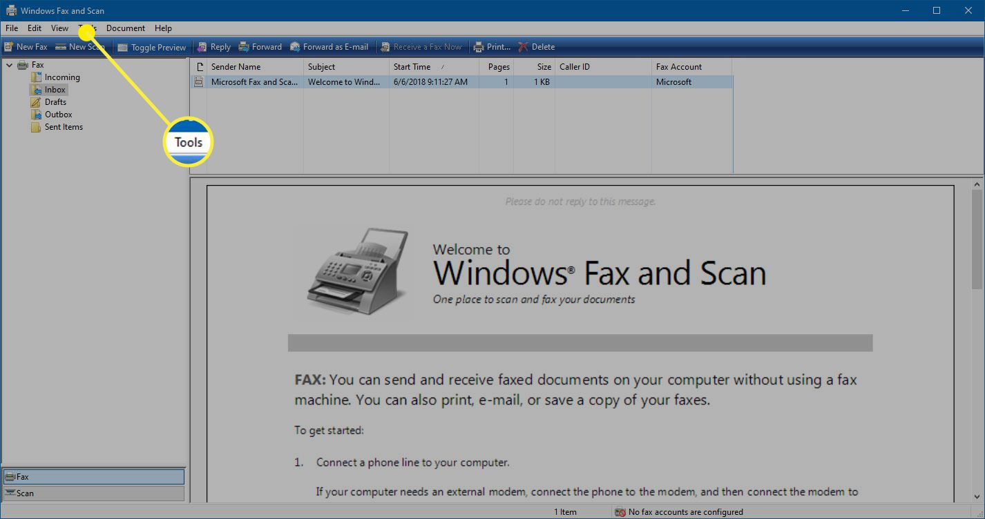The Tools option in Windows Fax and Scan.