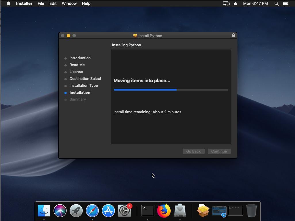 Progress Screen in the Python macOS Installer