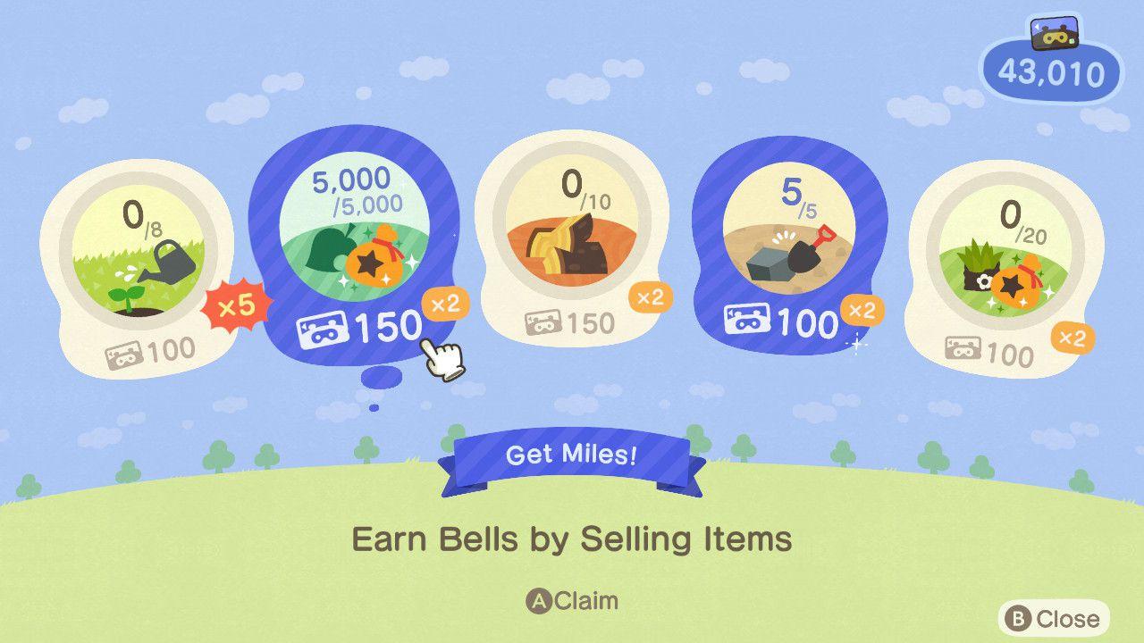Nook Miles Plus tasks in Animal Crossing.