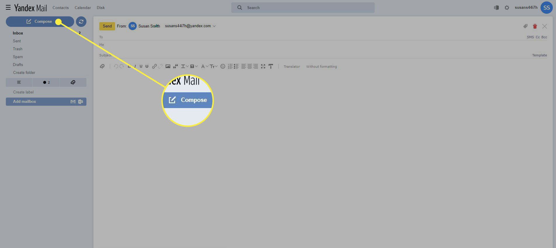 A screenshot of Yandex Mail with the Compose button highlighted