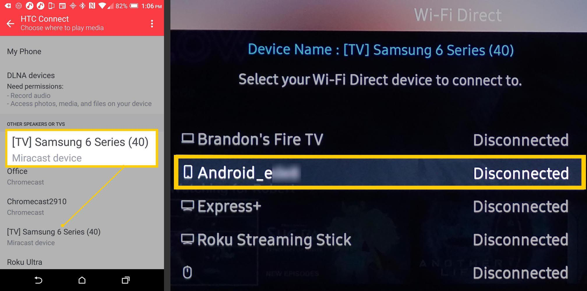 HTC One Android Phone and Samsung TV Screen Mirroring Step Two