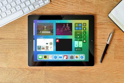 iPad showing Control Center widgets