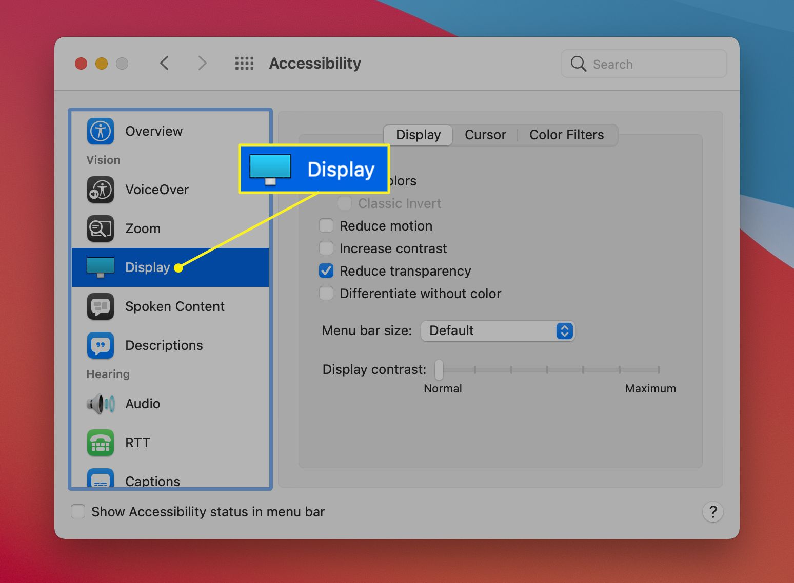 Accessibility Preferences with Display highlighted