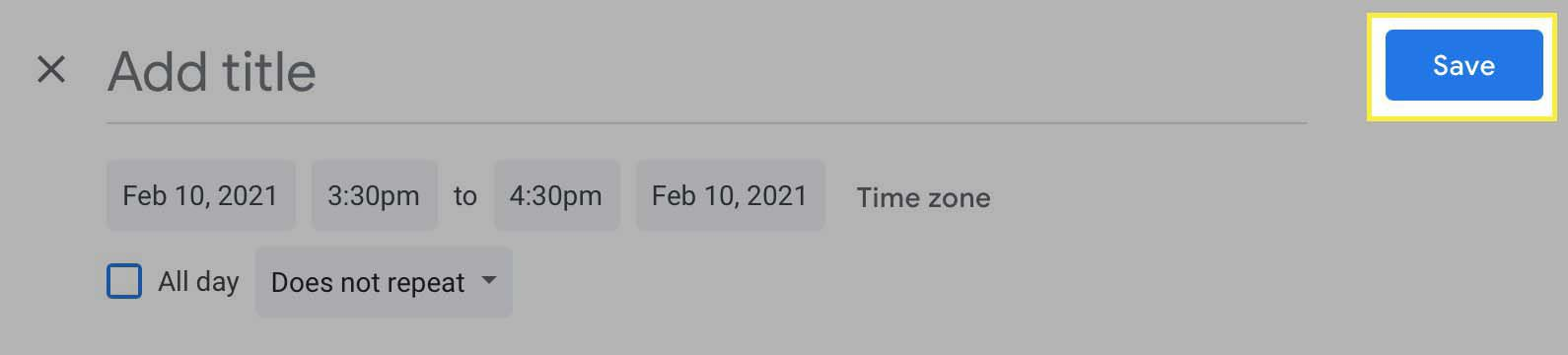 The Save button highlighted to save the meeting you've created in Google Meet.