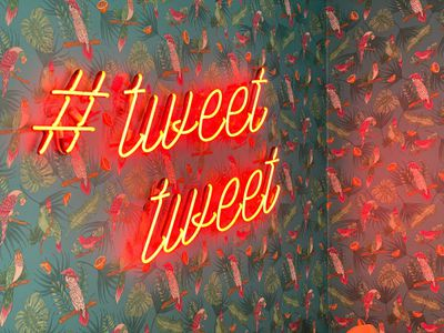 Neon sign that says # tweet tweet