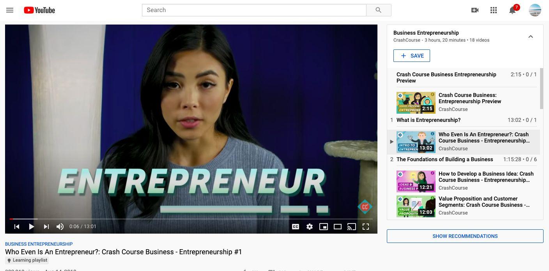 YouTube Crash Course channel video lesson on Enterpreneurship