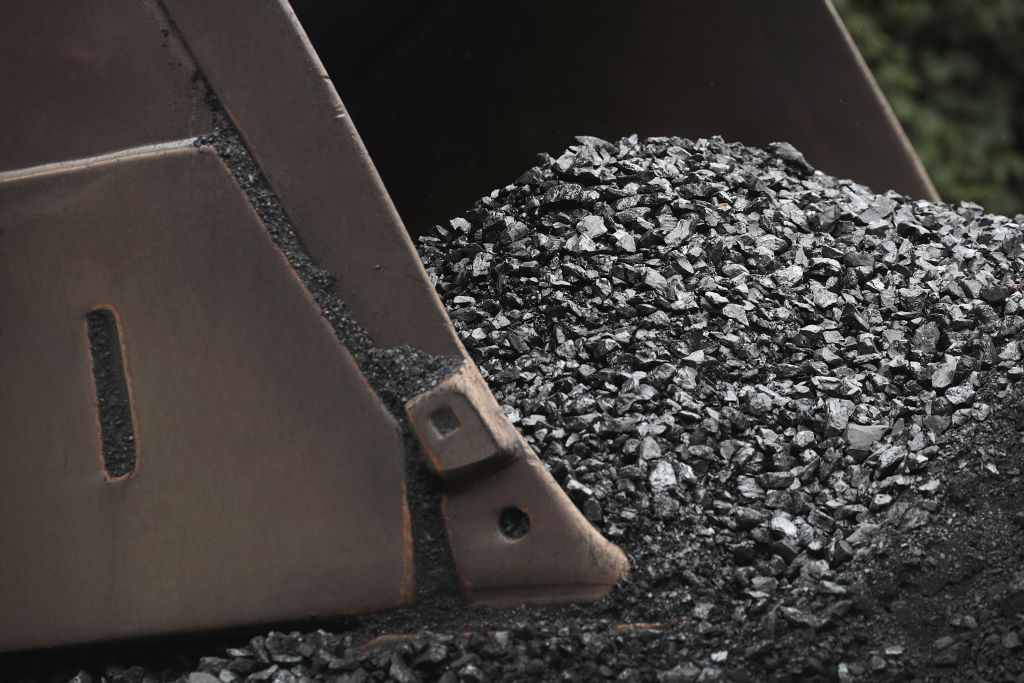 A close up of coal in the bucket of a mechanical shovel.