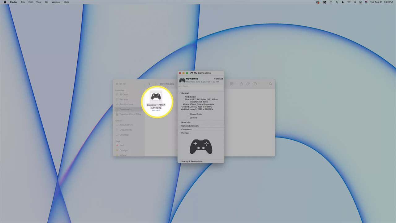 A folder image pasted on a Mac.