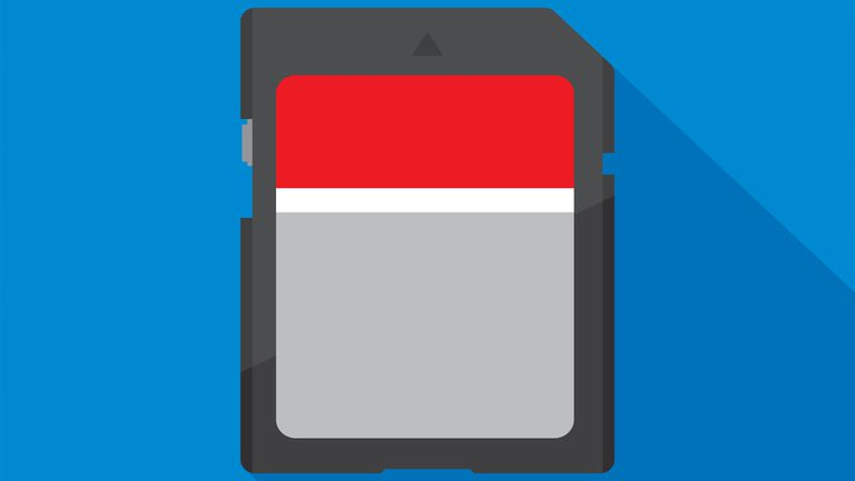 A drawing of an SD card.