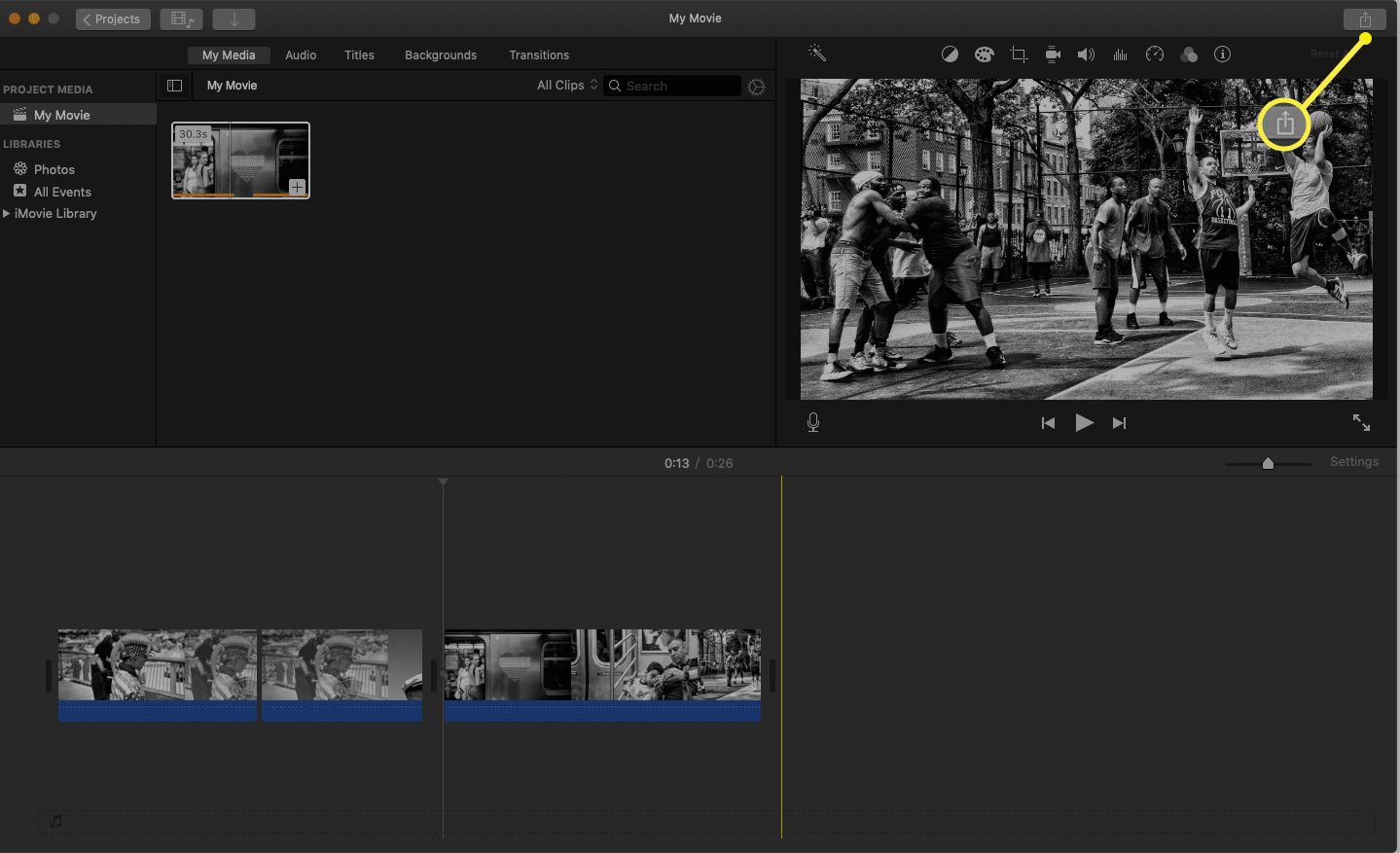 iMovie project with the share icon highlighted.
