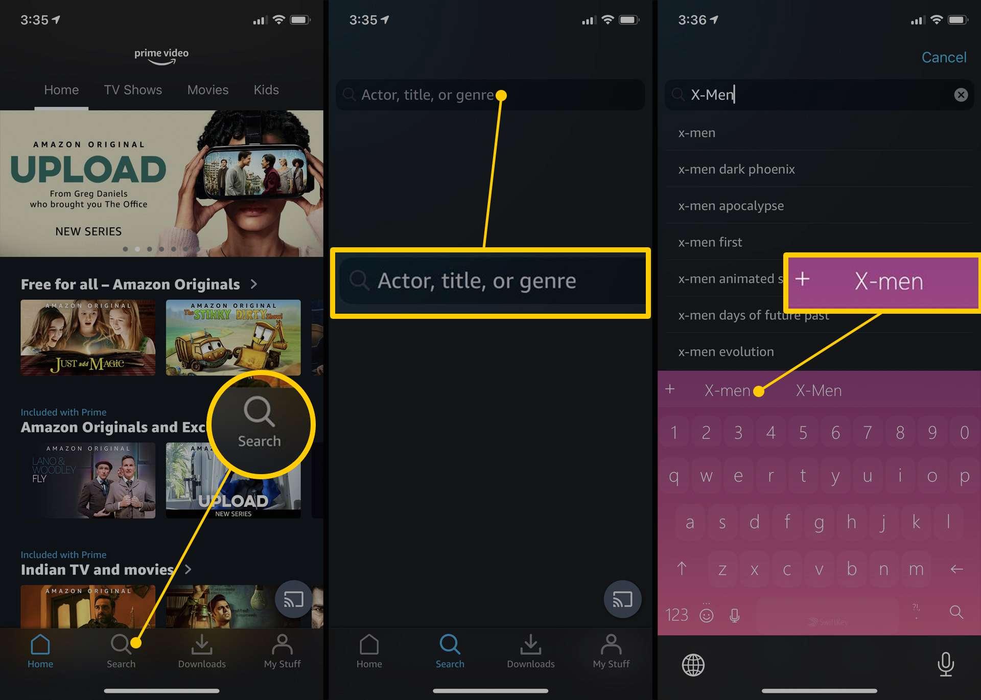 Amazon Prime Video app on iPhone.
