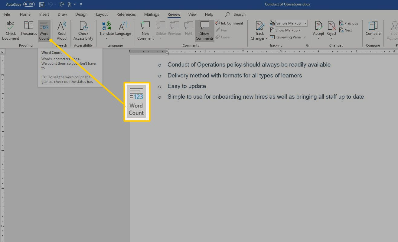 Word Count button in Word