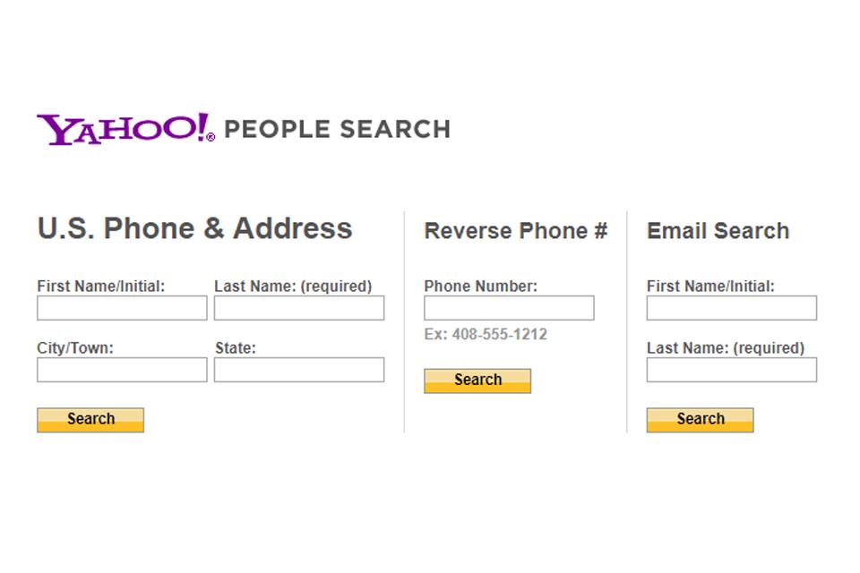 Yahoo People Search website