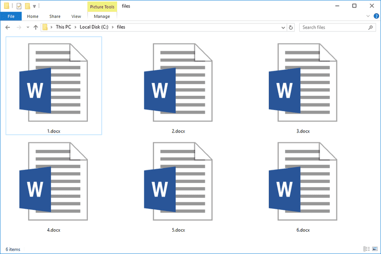 Screenshot of several DOCX files in Windows 10 that open with Microsoft Word